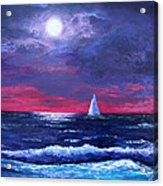 Moon Over Sunset Harbor Acrylic Print by Amy Scholten