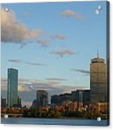 Moon Over The Prudential In Boston Acrylic Print