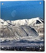 Moon Over The Snow Covered Mountains Acrylic Print