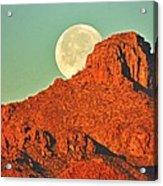 Moon Over Tucson Mountains Acrylic Print