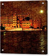 Moon Over Udaipur Painted Version Acrylic Print