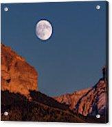 Moon Rise Over Cimarron Mountain Range Acrylic Print