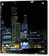 Moon Rise Over Downtown Chicago And The Willis Tower #2 Acrylic Print