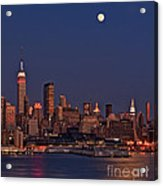 Moon Rise Over Manhattan Acrylic Print