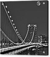Moon Rise Over The George Washington Bridge Bw Acrylic Print
