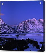 Moon Sets Over Behind The Tetons Panorama Acrylic Print