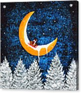 Moon Sledding Acrylic Print