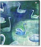 Moon Swans Acrylic Print
