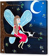 Moonlight Fairy And Fireflies Acrylic Print