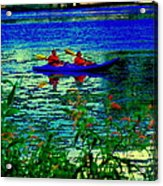 Moonlight Kayak Ride Along The Coastline Of The Lachine Canal Quebec Sea Scenes Carole Spandau Acrylic Print