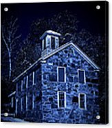 Moonlight On The Old Stone Building  Acrylic Print by Edward Fielding