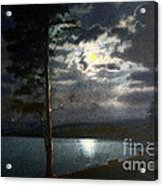 Moonlight On Yellowstone Lake Acrylic Print