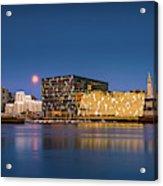 Moonlight Over Reykjavik Harbor Acrylic Print