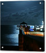 Moonlit Pier Acrylic Print by Laura Fasulo