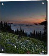 Moonlit Rainier Meadows Sunset Acrylic Print