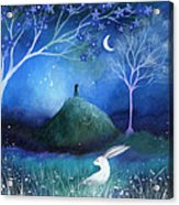 Moonlite And Hare Acrylic Print by Amanda Clark