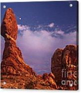 Moonrise At Balanced Rock Arches National Park Utah Acrylic Print