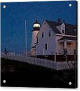 Moonrise Behind Pemaquid Point Light Acrylic Print