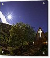 Moonrise Chapel Acrylic Print by Aaron Bedell