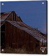 Moonrise Over Decrepit Barn Acrylic Print