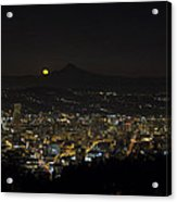 Moonrise Over Portland Oregon Cityscape Acrylic Print
