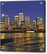 Moonrise Over River Thames Flowing Past Canary Wharf Acrylic Print
