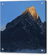 Moonset And Alpenglow Over A Snow Peak Acrylic Print