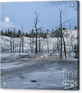 Moonset At Mammoth Terrace-yellowstone Acrylic Print