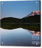 Moonset Over Rainier Acrylic Print
