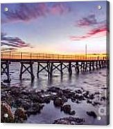 Moonta Bay Jetty Sunset Acrylic Print by Shannon Rogers