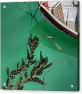 Moored Boat And Kelp Acrylic Print