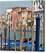 Moored Gondolas On The Grand Canal Acrylic Print