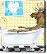 Moose Bath, Moose Painting, Moose Print, Bath Painting, Bath Print, Cottage Art Acrylic Print