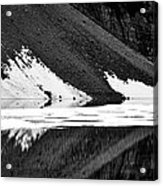 Moraine Lake Abstract - Black And White #2 Acrylic Print