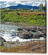 Moricetown Falls And Canyon Fishing Operation On The Bulkley River In Moricetwown-british Columbia  Acrylic Print