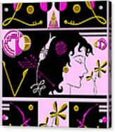 Morioka Montage In Bright Pink And Gold Acrylic Print