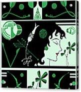 Morioka Montage In Green And Black Acrylic Print