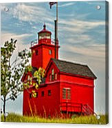 Morning At The Big Red Lighthouse Acrylic Print