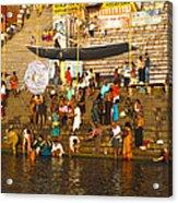 Morning Bathing At Kedar Ghat Acrylic Print