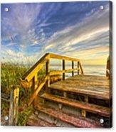 Morning Beach Walk Acrylic Print by Debra and Dave Vanderlaan