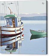 Morning Calm-fishing Boat With Skiff Acrylic Print