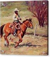 Morning Commute Working Cowboy Western Art Acrylic Print
