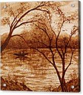 Morning Fishing Original Coffee Painting Acrylic Print