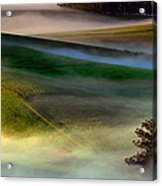 Morning Fog Over Two Rock Valley Diptych Acrylic Print