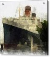 Morning Fog Queen Mary Ocean Liner 01 Photo Art 01 Acrylic Print