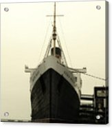 Morning Fog Queen Mary Ocean Liner Bow 02 Long Beach Ca Acrylic Print