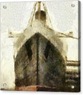 Morning Fog Queen Mary Ocean Liner Bow 03 Long Beach Ca Photo Art 02 Acrylic Print