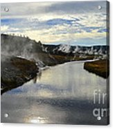 Morning In Upper Geyser Basin In Yellowstone National Park Acrylic Print