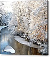 Morning Light Fresh Snowfall Gauley River Acrylic Print by Thomas R Fletcher