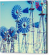 Morning Light On  The Blue Windmills Acrylic Print